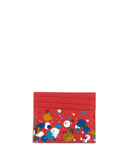 Paint-Splatter Leather Card Case, Red