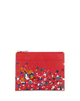 Maison Martin Margiela Paint-Splatter Document Pouch, Red