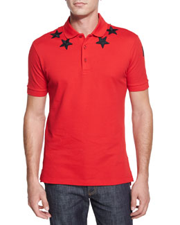 Star-Print Knit Polo Shirt, Red