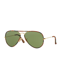 Ray-Ban Original Aviator Sunglasses with Camouflage, Brown Horn
