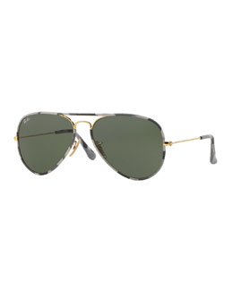 Ray-Ban Original Aviator Sunglasses with Camouflage, Gray
