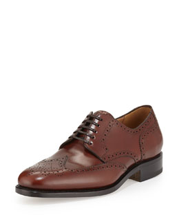 Salvatore Ferragamo Nilsson Tramezza Calfskin Wing-Tip Brogued Oxford, Brown
