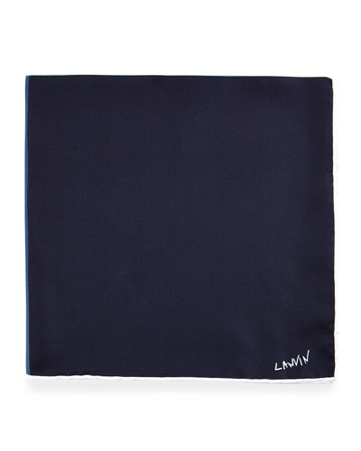 Four-Color Reversible Pocket Square, Navy