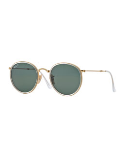 Ray-Ban Round Metal Sunglasses, Gold/Green