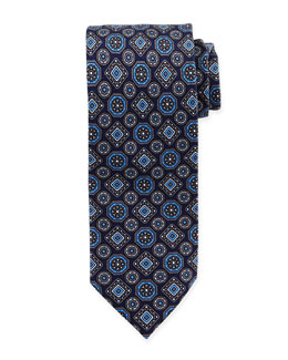Large Medallion-Print Silk Tie, Blue