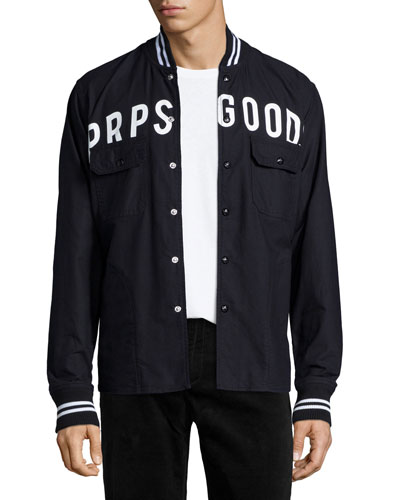 Logo Button-Front Shirt jacket, Black