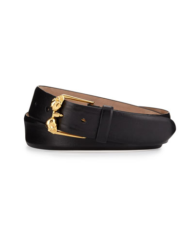 Double-Skull Buckle Leather Belt, Black/Gold