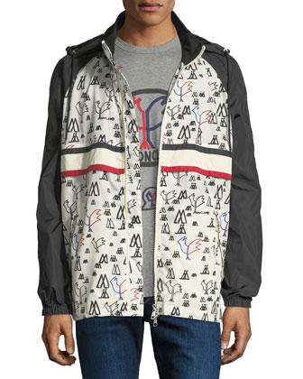 Bergdorf Goodman Moncler Genius Allos Printed Zip-Front Men's Jacket