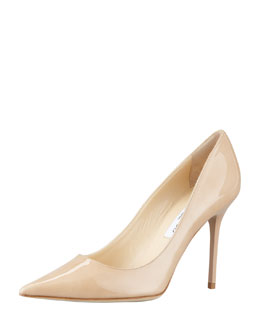 Jimmy Choo Abel Patent Pointy Pump, Nude