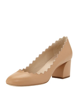 Chloe Scalloped Low-Heel Leather Pump, Sand