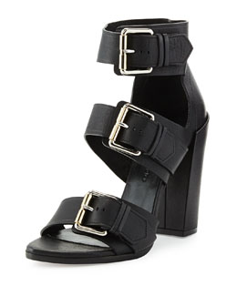 Proenza Schouler Triple-Buckle Leather Sandal, Black