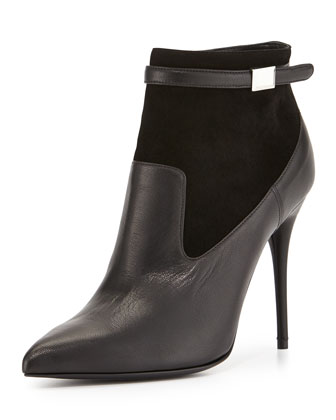 Alexander McQueen Suede & Leather Point-Toe Bootie, Black