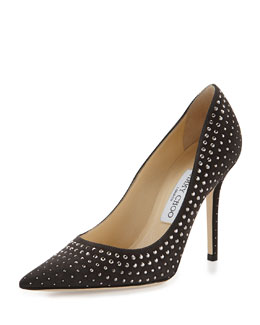 Jimmy Choo Abel Studded Suede Pump, Gray