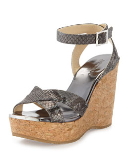 Jimmy Choo Papyrus Snake-Print Cork Wedge, Anthracite