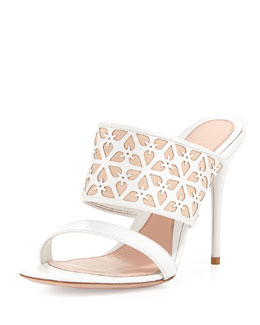 Alexander McQueen High-Heel Leather Mule, White