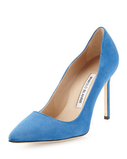 Manolo Blahnik BB Suede Point-Toe Pump, Blue