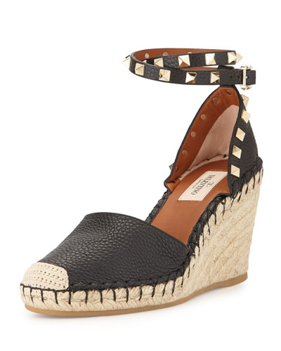 Rockstud Ankle-Wrap Espadrille Wedge, Black/Light Cuir