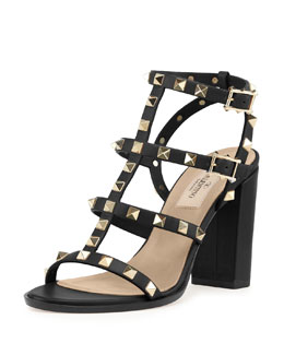 Valentino Rockstud Leather Cage Sandal, Black