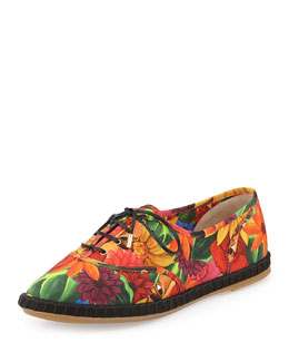 Charlotte Olympia Maria Floral-Print Lace-Up Flat Espadrille