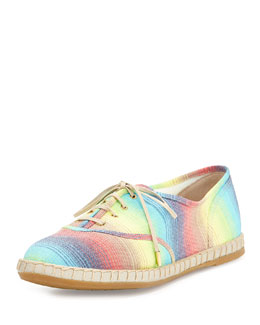 Charlotte Olympia Maria Lace-Up Espadrille Flat, Multicolor
