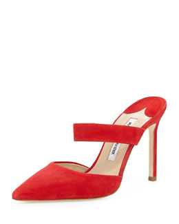Manolo Blahnik Trovina Suede Point-Toe Mule, Red