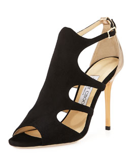 Jimmy Choo Tida Suede Cutout Sandal, Black/Tan
