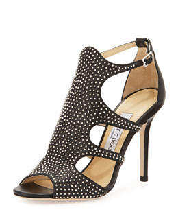 Jimmy Choo Tida Studded Leather Sandal, Black/Silver