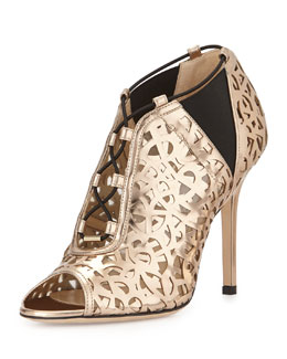 Jimmy Choo Tactic Laser-Cut Bootie, Rose Gold
