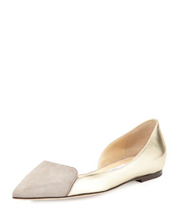 Jimmy Choo Hike Pointed-Toe Half-d'Orsay Flat, Silver