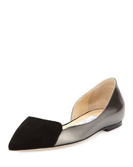 Jimmy Choo Hike Pointed-Toe Half-d'Orsay Flat, Black