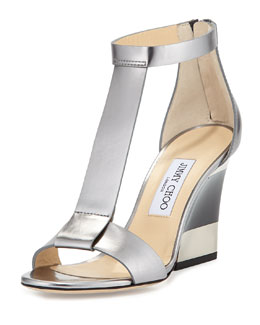 Jimmy Choo Milan Metallic Wedge Sandal, Silver