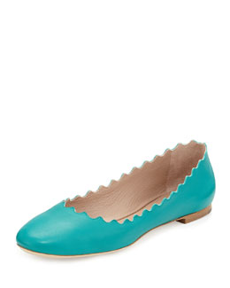 Chloe Scalloped Leather Ballerina Flat, Turquoise