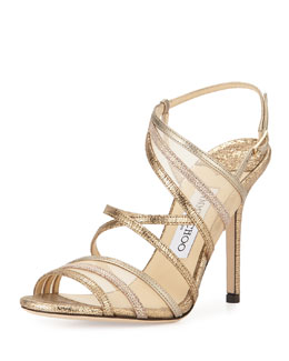 Jimmy Choo Visby Metallic Leather Crisscross Sandal, Silver