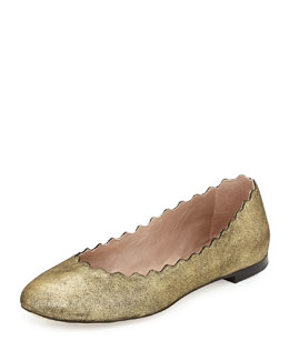 Chloe Scalloped Shimmer Suede Ballerina Flat, Gold