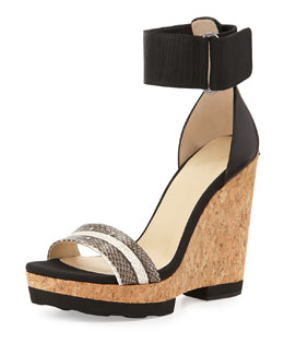 Jimmy Choo Neston Snake Wedge Sandal, Black