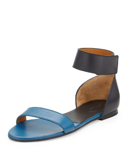Chloe Bicolor Leather Gala Sandal, Navy