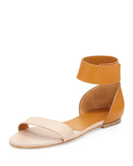 Chloe Bicolor Leather Gala Sandal, Neutral