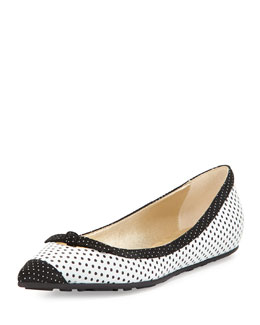 Jimmy Choo Grane Pointed-Toe Ballerina Flat, White
