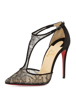 Christian Louboutin Salonu Chantilly Lace T-Strap Red Sole Pump, Black
