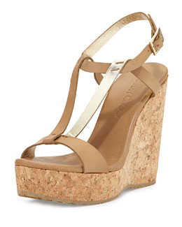 Jimmy Choo Native Leather Wedge Sandal, Neutral