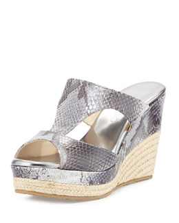 Jimmy Choo Pacane Snake-Print Wedge Slide, Gray