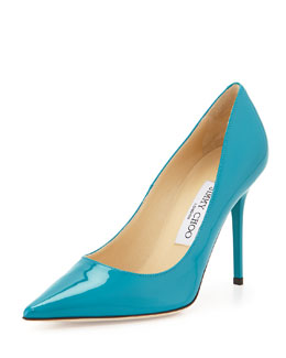 Jimmy Choo Abel Point-Toe Patent Pump, Turquoise