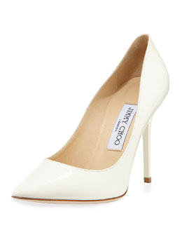 Jimmy Choo Abel Point-Toe Patent Pump, Off White