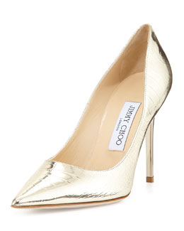 Jimmy Choo Abel Croc-Print Metallic Pump, Light Gold