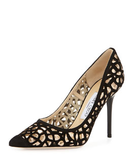 Jimmy Choo Abel Suede Cutout Pump, Black