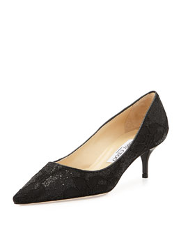 Jimmy Choo Aza Glitter Lace Kitten-Heel Pump, Black