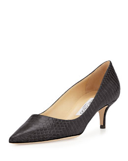 Jimmy Choo Aza Snakeskin Pointy Kitten-Heel Pump