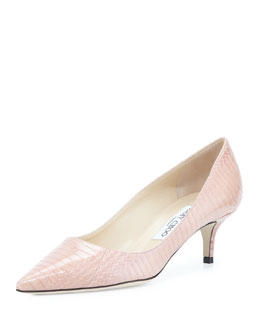 Jimmy Choo Aza Python Pointy Kitten-Heel Pump, Petal
