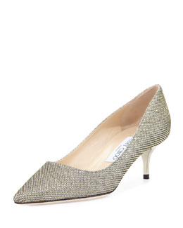 Jimmy Choo Aza Glitter Fabric Pump, Bronze