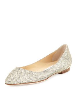 Jimmy Choo Goa Glitter Fabric Flat, Gold